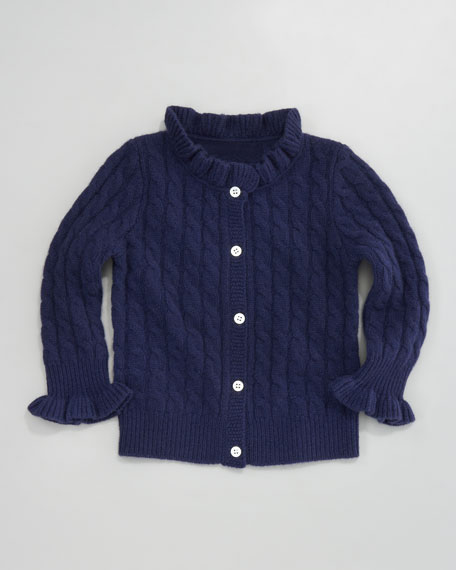 Cashmere Cable-Knit Ruffle Cardigan, American Navy
