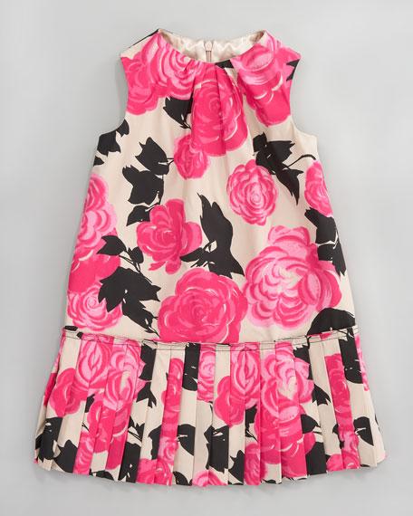 Kyley Camellia Pleated Dress, Sizes 2-6