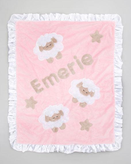 Pink Sheep Blanket, Monogram