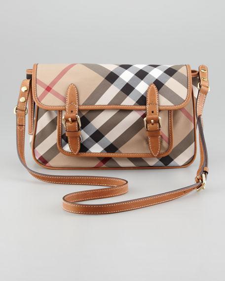 Girls' Check Nylon Messenger Bag, Saddle Brown