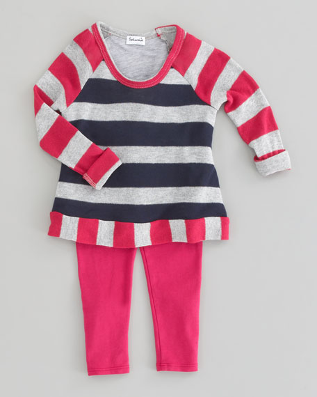 Rugby Stripe Shimmer Tunic & Leggings Set, Sizes 2T-4T