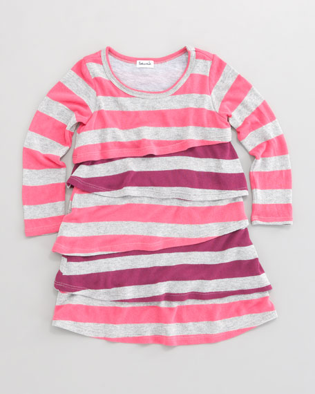 Rugby Stripe Tiered Dress, Sizes 4-7X