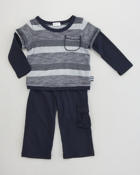 Striped Layered Tee & Pants Set