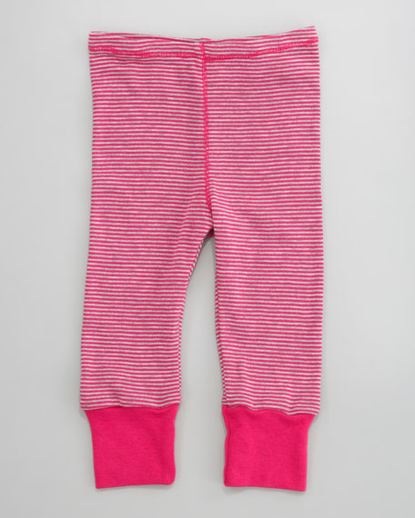 Mini-Stripe Snug Pants, Raspberry