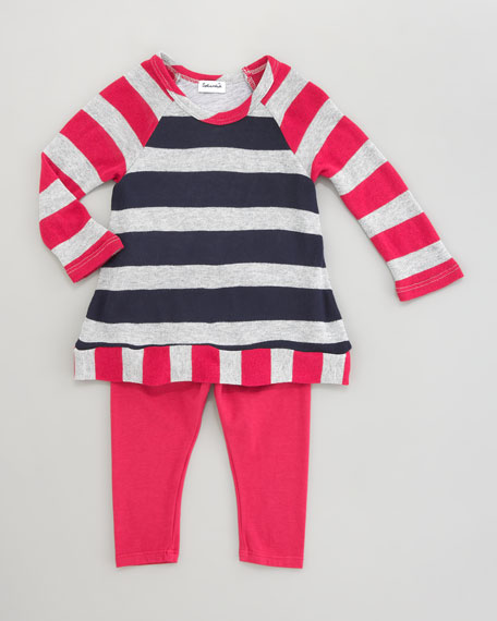 Rugby Stripe Shimmer Tunic & Leggings Set