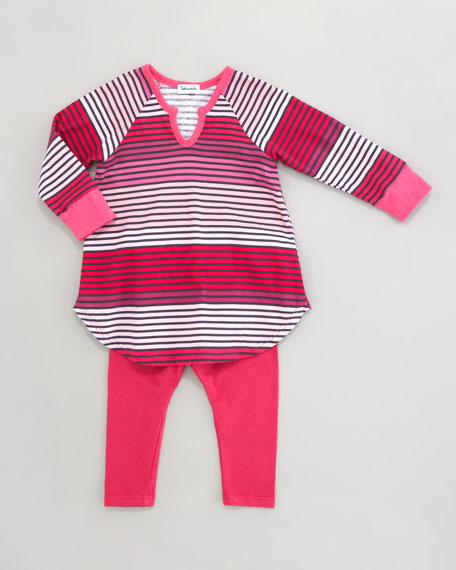 Camden Stripe Tunic & Leggings Set, Sugar Cookie
