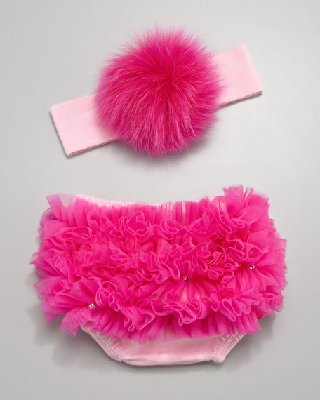 Diaper Cover & Fur Headband Set
