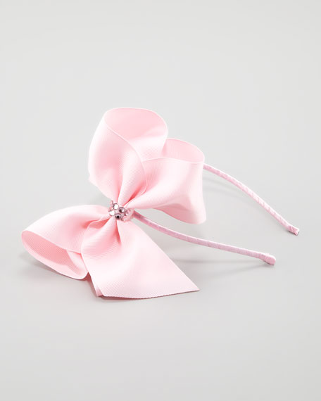Grosgrain Rhinestone Headband, Light Pink