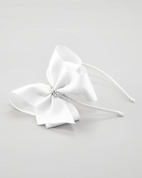 Grosgrain Rhinestone Headband, White