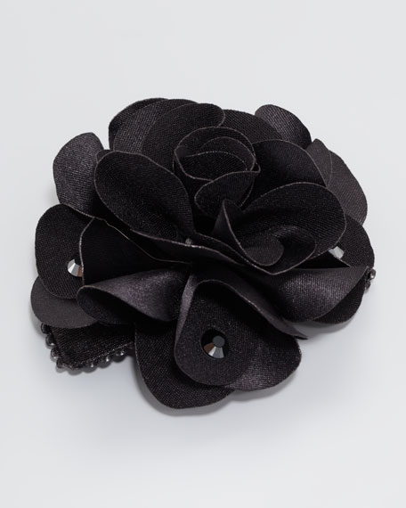Feel Good Small Floral Clip, Black