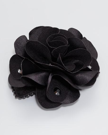 Feel Good Small Floral Clip, Black