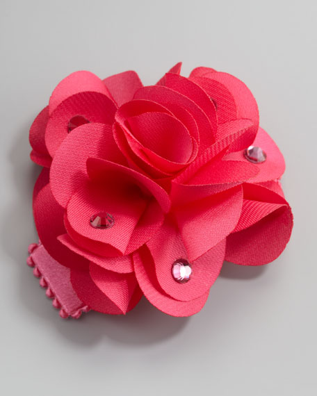 Feel Good Small Flower Clip, Hot Pink