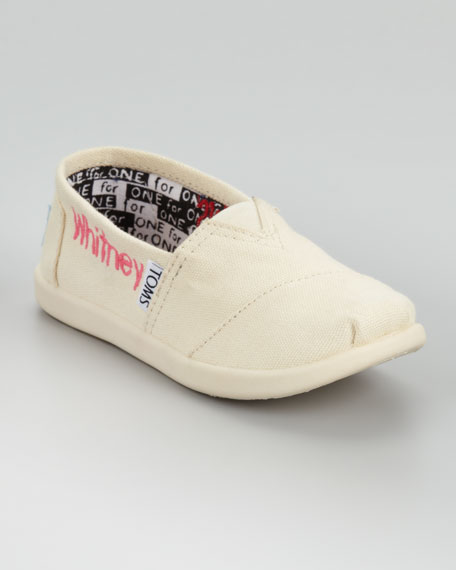 Natural Personalized Classic Canvas Slip-On, Youth
