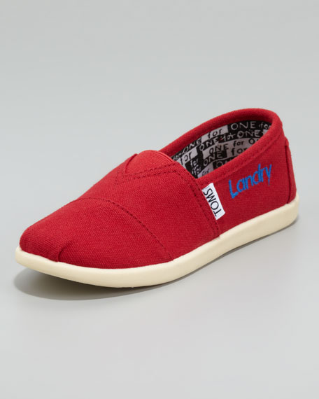 Red Personalized Classic Canvas Slip-On, Youth
