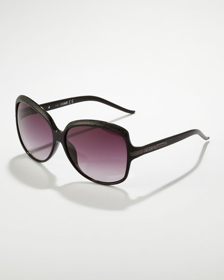 Python-Etched Sunglasses, Black