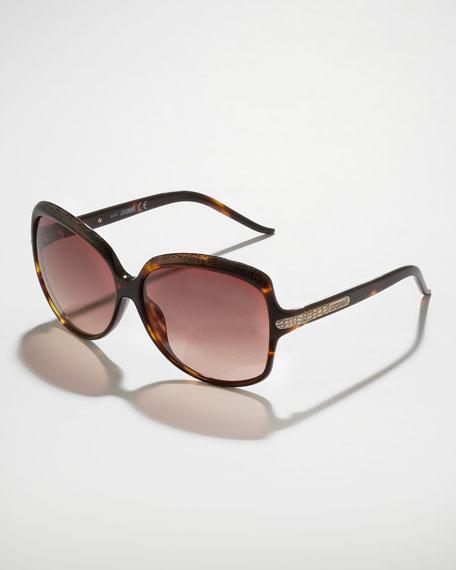 Python-Etched Sunglasses, Tortoise