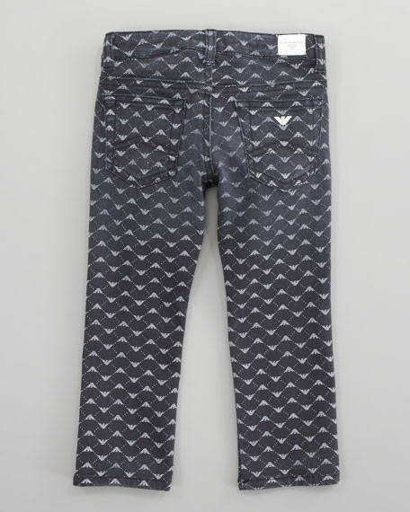 Metallic Logo-Print Jeans