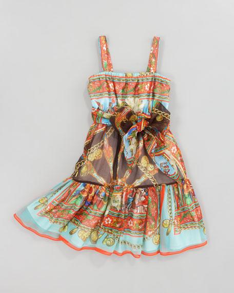 Printed Silk-Chiffon Sun Dress, Sizes 4-6