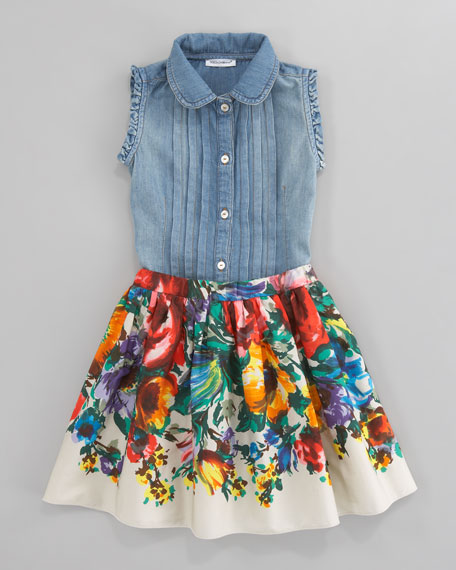 Fiori Colonna Floral Poplin Skirt, Sizes 4-6