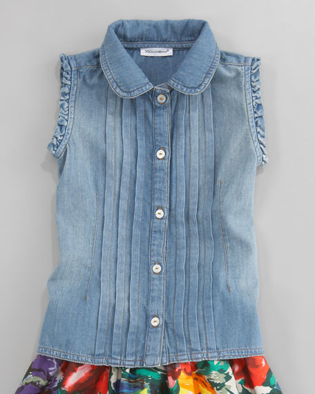 Denim Sleeveless Blouse, Sizes 4-6