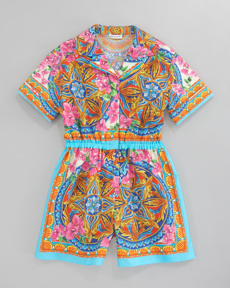 Printed Poplin Short Jumpsuit, Sizes 4-6