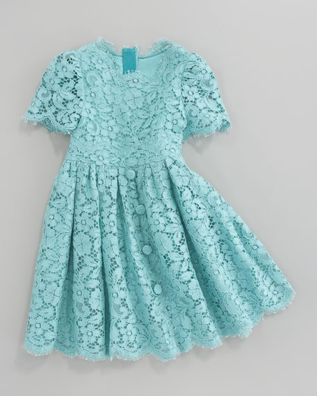 Short Sleeve All-Over Lace Dress, Size 4-6