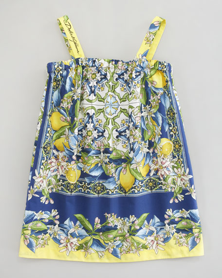 Floral-Lemon Print Poplin Dress, Sizes 8-10