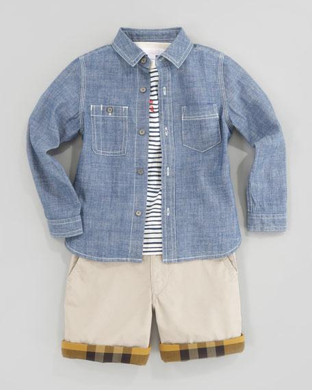 Mini Long Sleeve Chambray Shirt, Kids Sizes