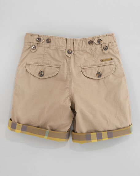 Check-Lined Twill Shorts