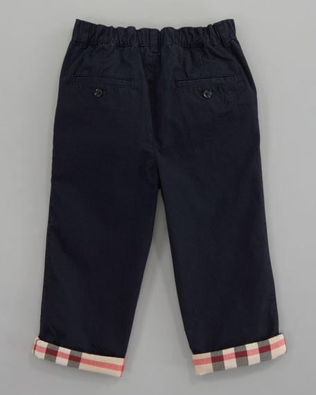 Elasticized Check-Cuff Trousers