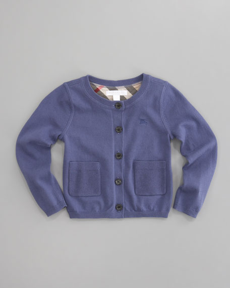 Cotton Cardigan, Iris Blue