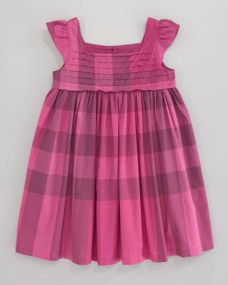 Voile Check Dress, Fuchsia