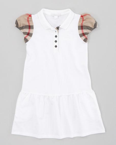 Drop-Waist Pique Dress, White