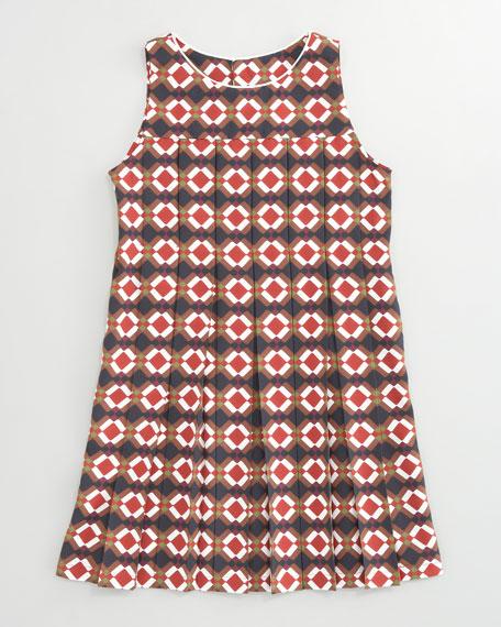 Geometric-Print Pleated Dress, Sizes 8-10