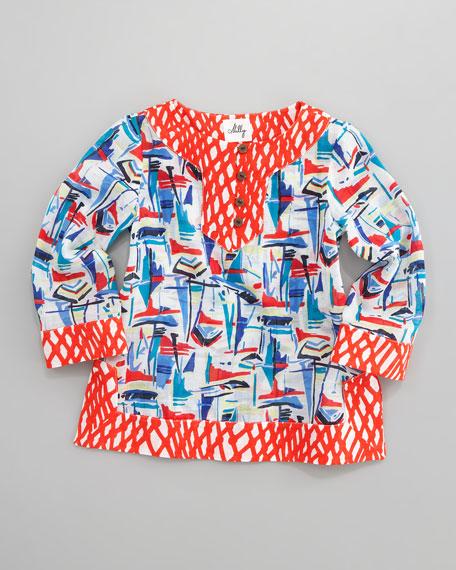 Sailboat-Print Tunic, Sizes 2-7