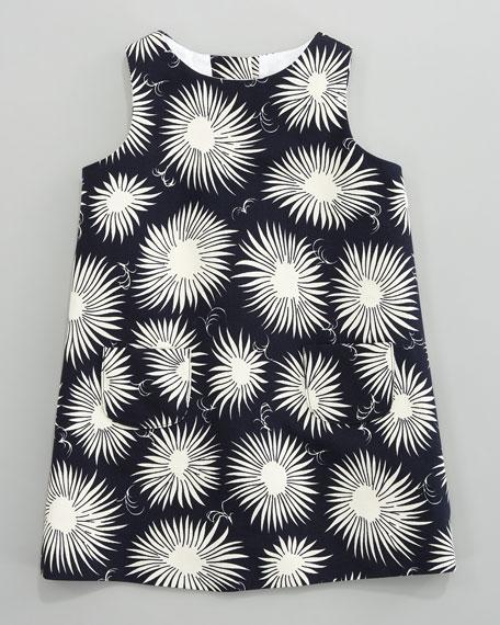 Aster-Print Faille Dress, Sizes 8-10