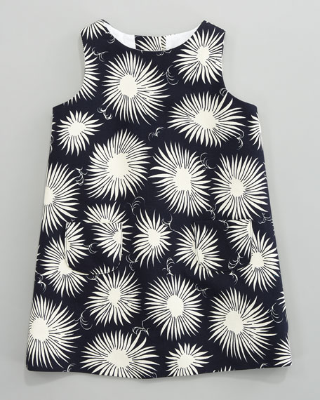 Aster-Print Faille Dress, Sizes 2-6