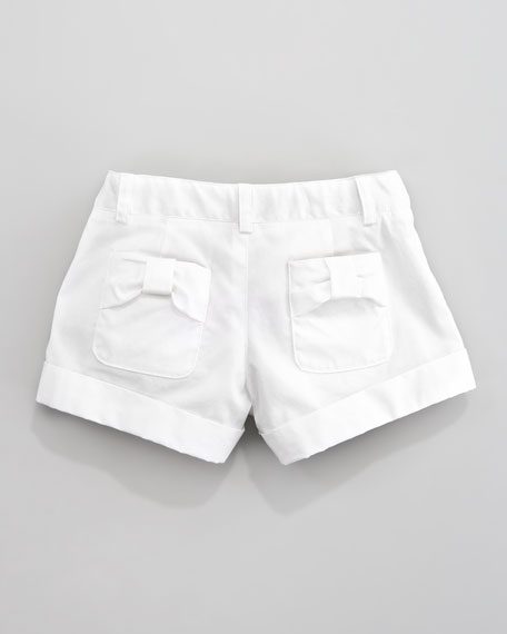 Bow-Pocket Shorts, Sizes 8-10
