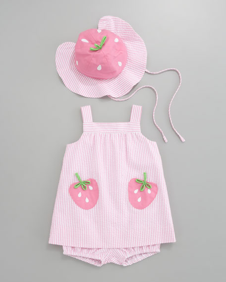 Strawberry Pockets Seersucker Dress, 12-24 Months
