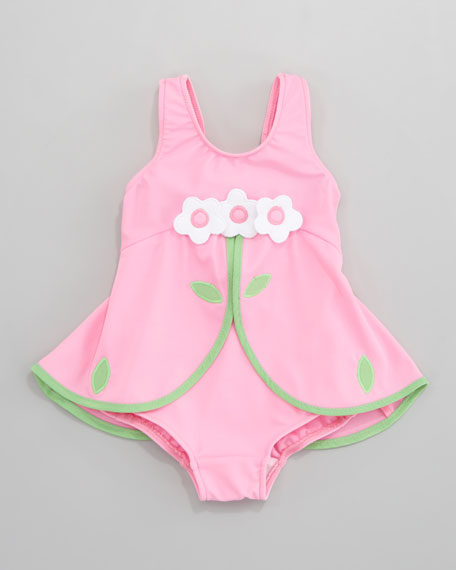 Pink Flower Skirted Swimsuit, 6-9 Months