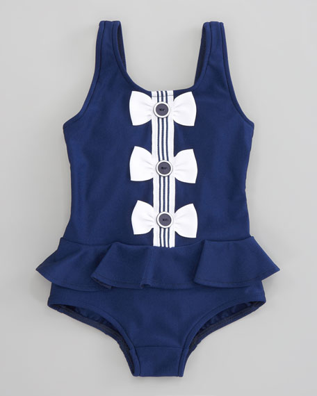 Buttons and Bows Swimsuit, Sizes 12-24 Months