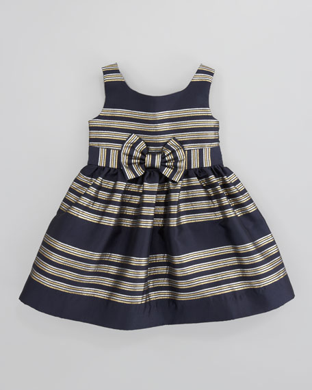 True Glam Metallic-Striped Dress, Navy
