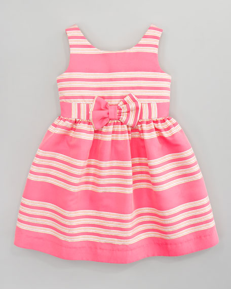 True Glam Metallic-Striped Dress, Pink