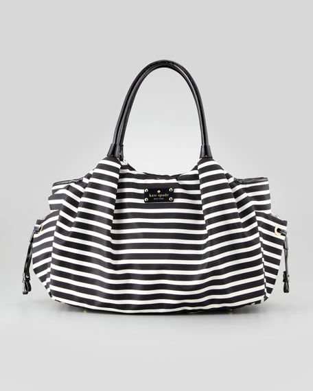 stevie striped large diaper bag, black/cream