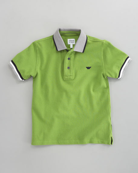 Striped-Trim Polo Green, Sizes 2-10