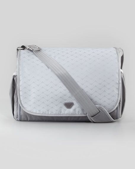 Logo-Print Diaper Bag, Light Gray