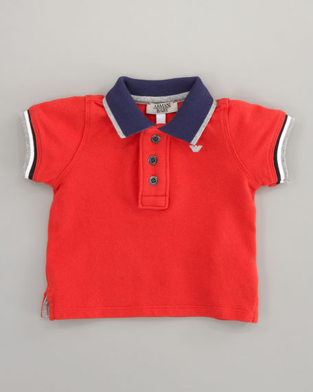 Striped-Trim Polo Red, Sizes 12-24 Months