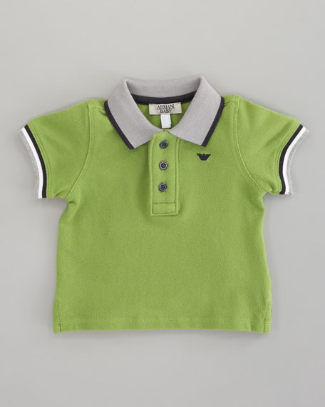 Striped-Trim Polo Green, Sizes 12-24 Months
