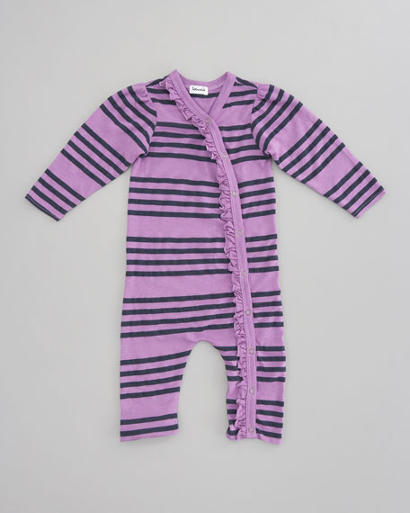 Striped Ruffle Capri Playsuit, Jam/Light Purple