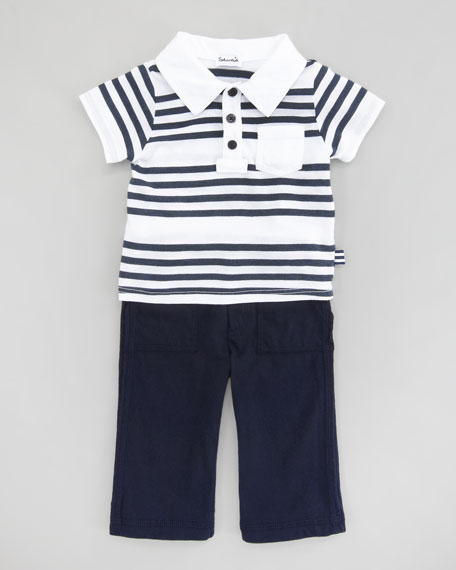 Capri Striped Polo & Pant Set